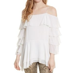 alice + olivia White Lyrd Cold Shoulder Ruffle Top
